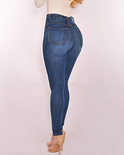 Pantalons Crayon Femme Stretch Skinny Jeans Slim Taille Haute Bouton Denim Leggings Bleu Clair