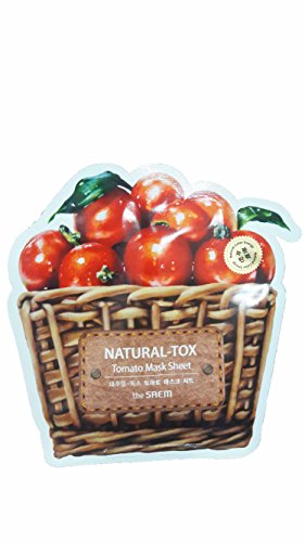 4 Mask Sheets of The SAEM Natural - tox Tomato Mask Sheet (Moisturizing & Firming). (0.7 fl.oz./ sheet.)