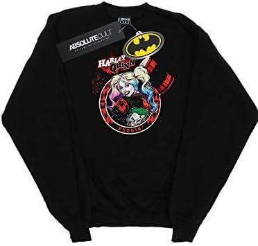 Absolute Cult DC Comics Herren Harley Quinn Joker Patch Sweatshirt Schwarz XXXX-Large