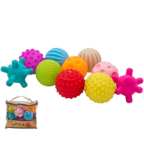 Newdanceus 10pcs Sensory Balls Plastic Soft & Textured Balls Squeezy Squishy Bouncy Fidget Multi-Shape Toys with Bright Colors and Sounds for Baby Toddler BPA Free ()