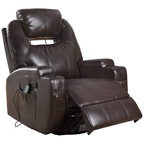 Brown Finish Rocker Recliner - Acme Waterlily Leather Massage Rocker Recliner in Brown