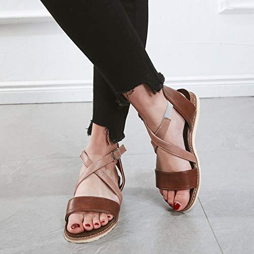 sandales Marche Cuir Dorees Élastique Plates Ete Pas Rouge Femmes Garçon D'été Compensées Ohq Pour De Randonnee Marron Cher Talon HvwdHg