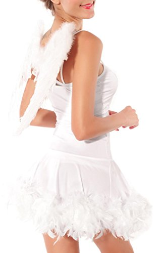 Booty Gal Women's White Sexy Angel Dress With Wings Costume Set For Role Play (Captain Caveman Costume)