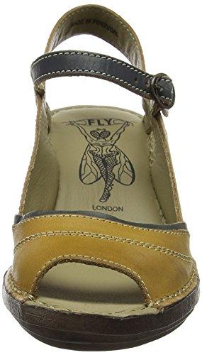 Fly London P300659008, Sandalias de Cuñas Mujer Amarillo (Mustard/Petrol 008)