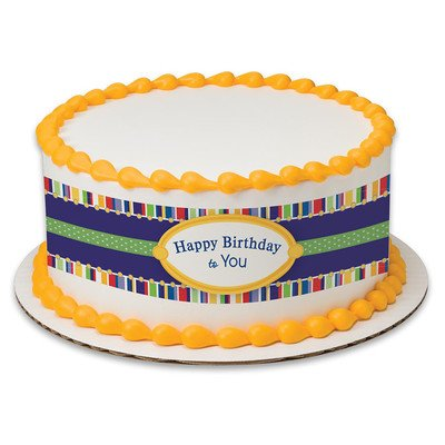 - Happy Birthday To You Birthday Peel & STick Edible Cake Topper Decoration for Cake Borders w. Sparkle Flakes & Favor Labels
