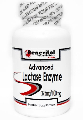 Advanced Lactase Enzyme 375mg/100mg 100 Capsules ~ Renevitol by Renevitol