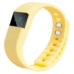 Reloj de los deportes, Susenstone Deportes Fitness actividad Tracker podómetro pulsera reloj de pulsera elegante unisex banda sueño (Amarillo)