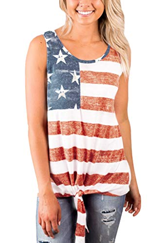 - For G and PL American Flag Women Cotton Star Striped Sleeveless Shirt 4th of July Patriotic Casual Tank Top USA M