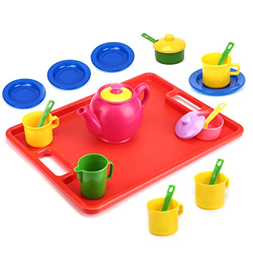 Flormoon Toy Tea Set - 19pcs Pretend Play Tea Set - Durable Construction, Food-Safe Material, BPA Free, Phthalates Free - Learning Shapes & Colors Toy for Kids Children Tea Party and Fun