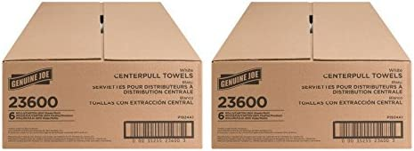 Genuine Joe GJO23600 Center Pull Paper Towels, 600 Sheets, White (Pack of 6) - 2 Carton