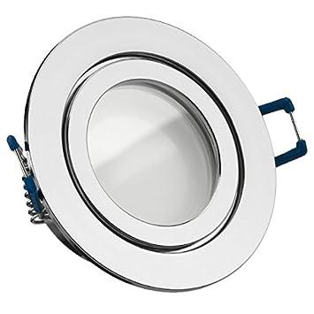 IP44 LED Einbaustrahler Set Chrom mit LED GU10 Markenstrahler von LEDANDO -  5W - warmweiss - 120° Abstrahlwinkel - Feuchtraum/Badezimmer - 35W Ersatz  ...