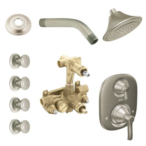 Moen KSPRO-SB-TS203BN Rothbury Vertical Spa Kit with Shower, Head, Arm, and Flange, Brushed ()