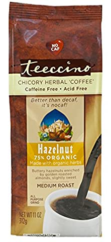 Teeccino Hazelnut Chicory Herbal Coffee Alternative, Caffeine Free, Acid Free, 11 Ounce (Pack of 3) - Caffeine Free Coffee