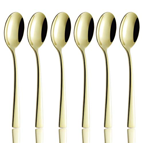 (Dinner Spoons Set of 6, Champagne Gold Flatware Replacement 18/10 Stainless Steel Heavy Duty Silverware Spoon Bulk, 8-inch Eating Utensils Sets, 6-Piece Table Spoons Mirror Finished, Dishwasher Safe)