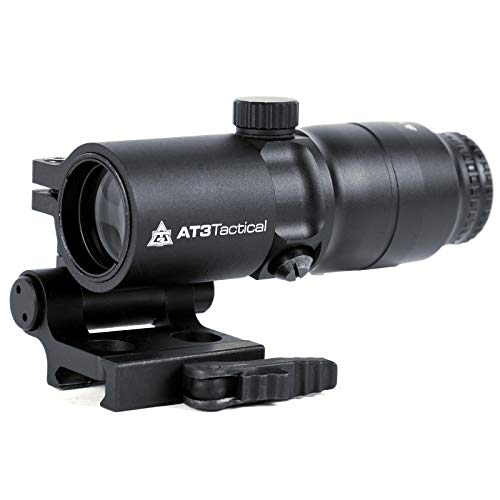 AT3 Tactical 4xRDM 4X Red Dot Sight Magnifier with QD Flip-to-Side - Side Mount Red