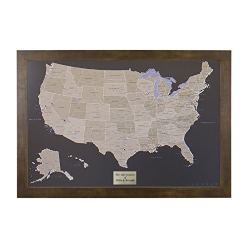 Big Map Us - Push Pin Travel Maps Personalized Earth Toned US with Rustic Brown Frame and Pins 24 x 36