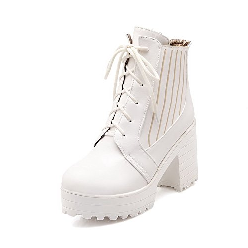 AgooLar Women's Solid High-Heels Round Closed Toe PU Lace-up Boots White Edaqwg8Xi