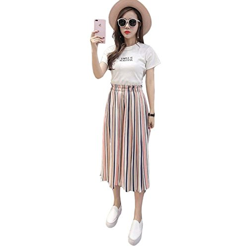 Ragazze Fashion Gonna 4 Estivi Donna Pantalone Vita Libero Larghi Spiaggia Style Stripe Pantaloni Elegante Tempo 3 Elastica Festa Rosa Chiffon cqn08ArqW