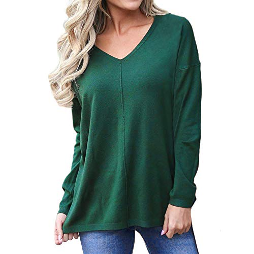 Keliay Women's Winter Autumn Long Sleeve V Neck Blouse Pullover Sweater Jumper Tops Green