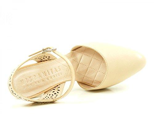 Para De Niza Hv74901 Zapatos Hispanitas Tacón Cuero Mujer Beige R5jAL3q4