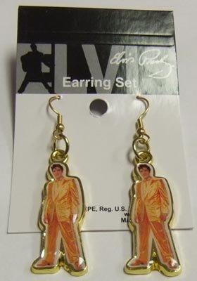 (Elvis Presley Earrings Gold Lame)