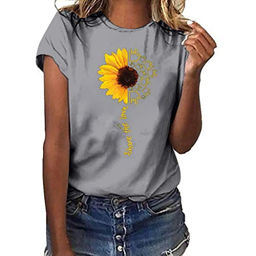 Aniywn Summer T-Shirt, Women Sunflower Print Loose Round Neck Short Sleeve Basic Blouse Tops Gray