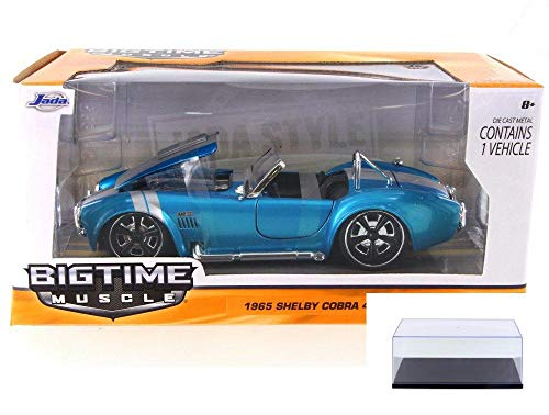 Diecast Car & Display Case Package - 1965 Ford Shelby Cobra 427 S/C Convertible, Light Metallic Blue - JADA 90537YV - 1/24 Scale Diecast Model Toy Car w/Display Case