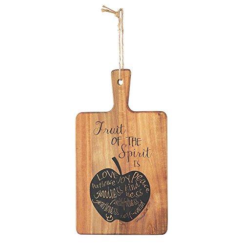 Acacia Black Wood - Fruit of the Spirit Galatians 5:22 Black Stamp 7 x 12.5 Acacia Wood Paddle Cutting Board and Hanger