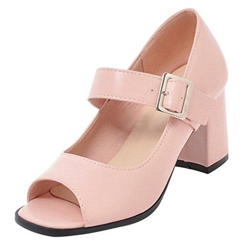Toe Summer Court Peep RAZAMAZA Pink Women Shoes 8Tn4Fxt1