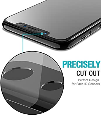 TOZO for iPhone X Screen Protector (2 Packs) Glass [ 3D Full Frame ] Premium Tempered 9H Hardness PET [Soft Edge Hybrid] Super Easy Apply for iPhone 10 work with most case