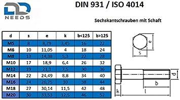 VPE: 4 St/ück DIN 931 // ISO 4014 Maschinenschrauben Sechskantschrauben mit Schaft M10x40 aus rostfreiem Edelstahl A2 V2A D2D