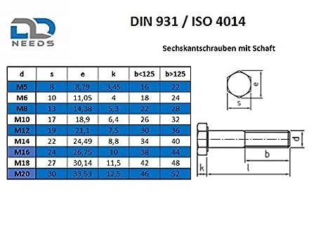 Sechskantschrauben mit Schaft M8x45 Maschinenschrauben VPE: 4 St/ück D2D DIN 931 // ISO 4014 aus rostfreiem Edelstahl A2 V2A