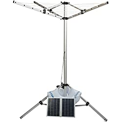 Whirligig, portable, solar powered clothes line