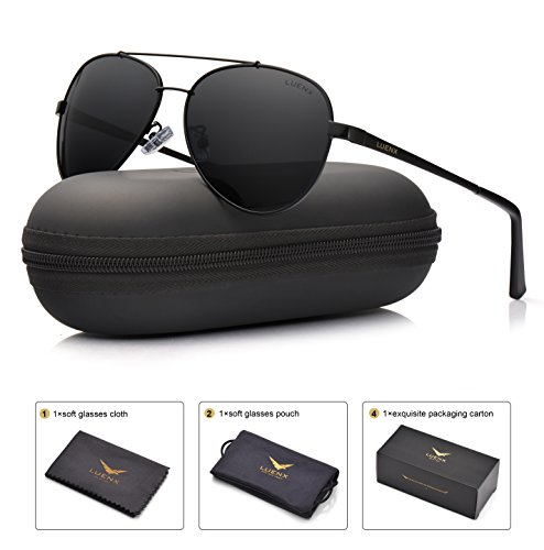 LUENX Mens Aviator Sunglasses Polarized : UV 400 Protection with Case 60MM – Sports Center Store