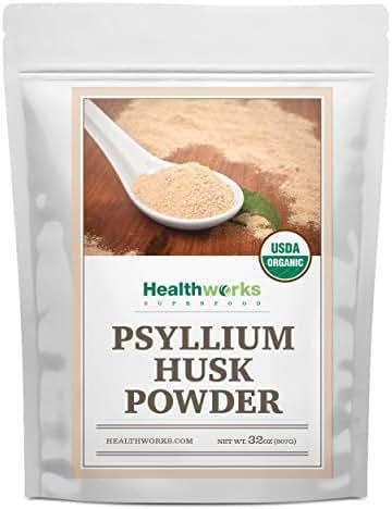Healthworks Psyllium Husk Powder (32 Ounces / 2 Pounds) |  Raw | Certified Organic | Finely Ground Powder from India | Keto, Vegan & Non-GMO | Fiber Support