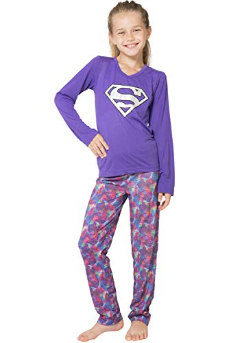 DC Comics Girls 'Superman Supergirl Athletic' Yoga Pajama Set , Purple, 6/6x ()
