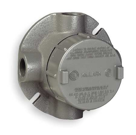 Killark GECXTF-1 XTF Type Outlet Body, Copper-Free Aluminum, 1/2'' Hub, 19 cu. in., Gray