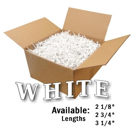 "Premium Golf Tees by JP Lann (1000 Count Bulk Boxes) Available in 4 Sizes: 2 1/8"" - 2 3/4"" - 3 1/4"" - 4"" (White, 2 3/4"")"