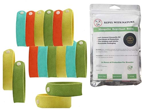 Mosquito Repellent Bracelet Insect 16 Pack Long Lasting for Kids & Adults Organic Bug Wrist Ankle Band Natural Products Travel Pendants Resealable