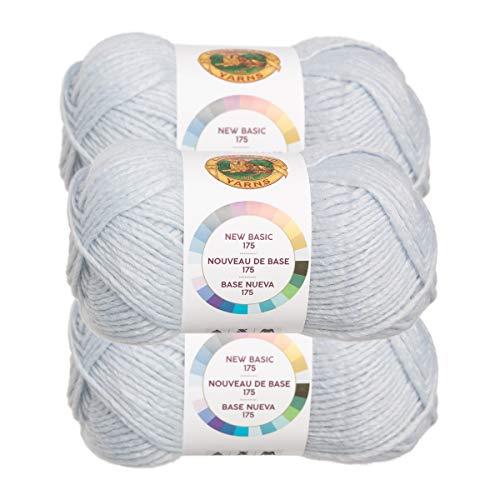 (Lion Brand (3 Pack) New Basic Acrylic & Wool Soft Ice Light Blue Yarn for Knitting Crocheting Medium #4)