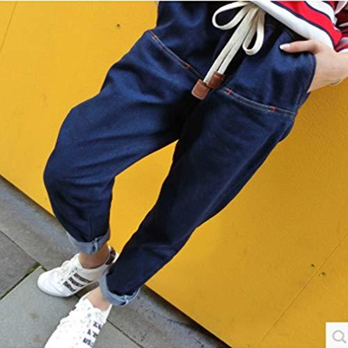 Newin Mode Élastique Femmes Satr Printemps Taille Automne Jeans Vêtements Casual Haute Loose Harem rqrwWnZc