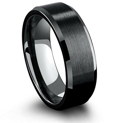 Milo Bruno 8MM Beveled Edge Tungsten Wedding Ring (Black) - 9