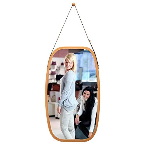 Full Length Wall Mirror Hanging in Bathroom & Bedroom - Solid Bamboo Frame & Adjustable Leather Strap, Makeup Dressing Home Decor (Bamboo, 29L 17W Inch) (Bamboo Mirror Wall)