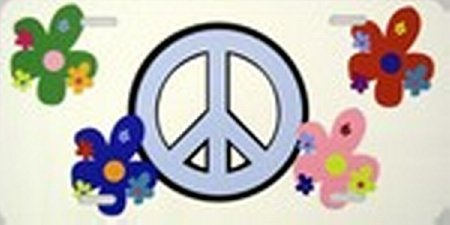 Peace Sign and Flowers License Plate Plates Tag Tags auto vehicle car front (Plates Flower License)
