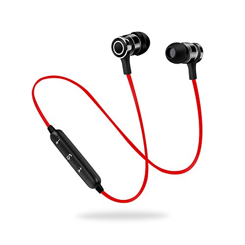 Bluetooth Headphones, AsiaSolution Wireless Earbuds Stereo Earphones 6 Hours Play Time, Magnetic Sport Headsets with Microphone (Bluetooth 4.1, AptX, CVC 6.0 Noise Cancellation, Sweatproof) - Red