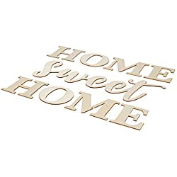 Home Sweet Home Sign - Unfinished Wood Letters Sign, Decorative Word Cutout, for Home, Party Decoration, Housewarming Gift, DIY Art Craft
