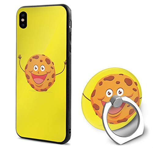 Apple iPhone Xs Case(2018) / iPhone X Case(2017) + Finger Ring Stand Holder 360 Degree Rotating Combo Set - Biscuits