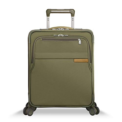 Briggs & Riley Baseline 21 inch Softside International Carry On Luggage with Spinner wheels 21 x 15 x 9. Expandable with Compression Packing System, Olive