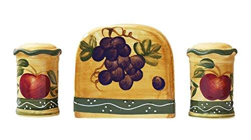 Tuscan Hand-Painted Napkin Holder and Salt & Pepper Shaker Set (Collection Ceramic Pepper Set Kitchen Salt And)