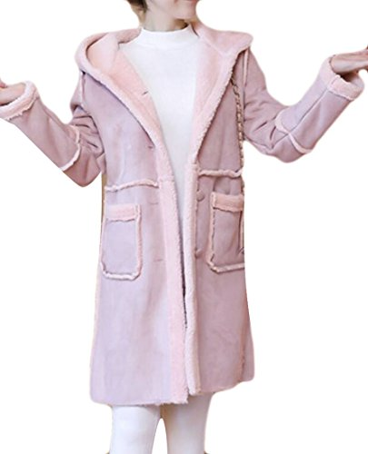 Coat Suede Faux Fur (KLJR Women's Mid Length Hoodie Suede Faux Fur Coats Parkas Outwear Pink US XL)